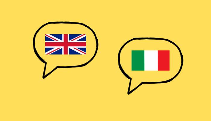 fumetti con bandiera inglese e bandiera italiana