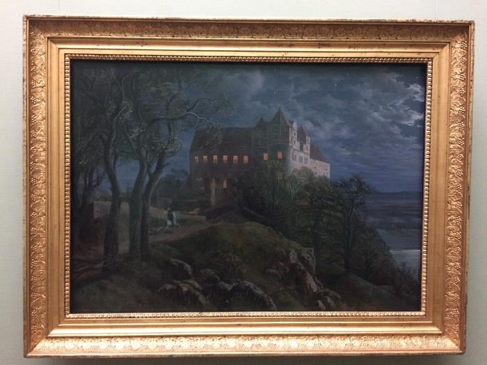Burg Scharfenberg bei Nacht Ernst Ferdinand Oehme