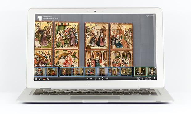 schermo di un pc con foto di opere d'arte