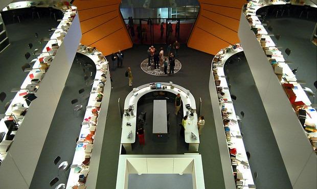 vista dall'alto della biblioteca della Freie Universität Berlin